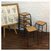 Vintage Brown French School Lab Stools