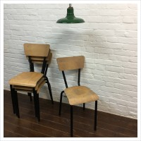 Vintage French School Stacking Chairs
