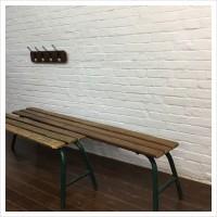 Vintage Metal Frame French School Bench