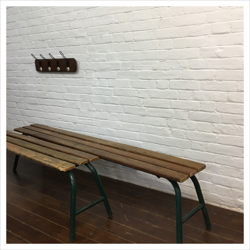 Vintage Metal Frame French School Bench | Mayfly Vintage