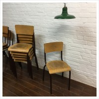 Vintage Brown French School Stacking Chairs