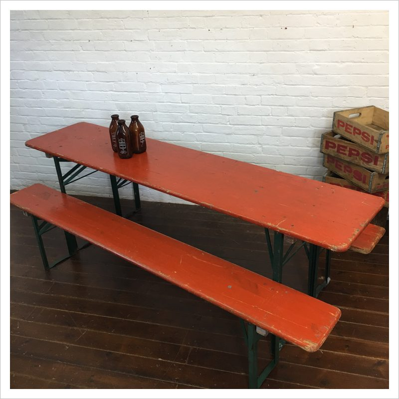 Swell Vintage German Beer Hall Table And Bench Set Evergreenethics Interior Chair Design Evergreenethicsorg