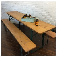 Natural Beer Hall Table and Benches Set