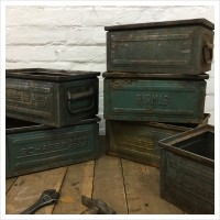 Small Blue Metal Schafer Crate