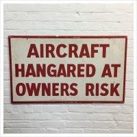 Original Wooden Aircraft Hanger Sign
