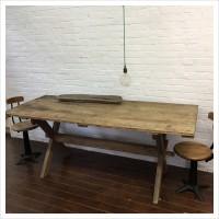 French Oak Farmhouse Cross Leg Kitchen Table