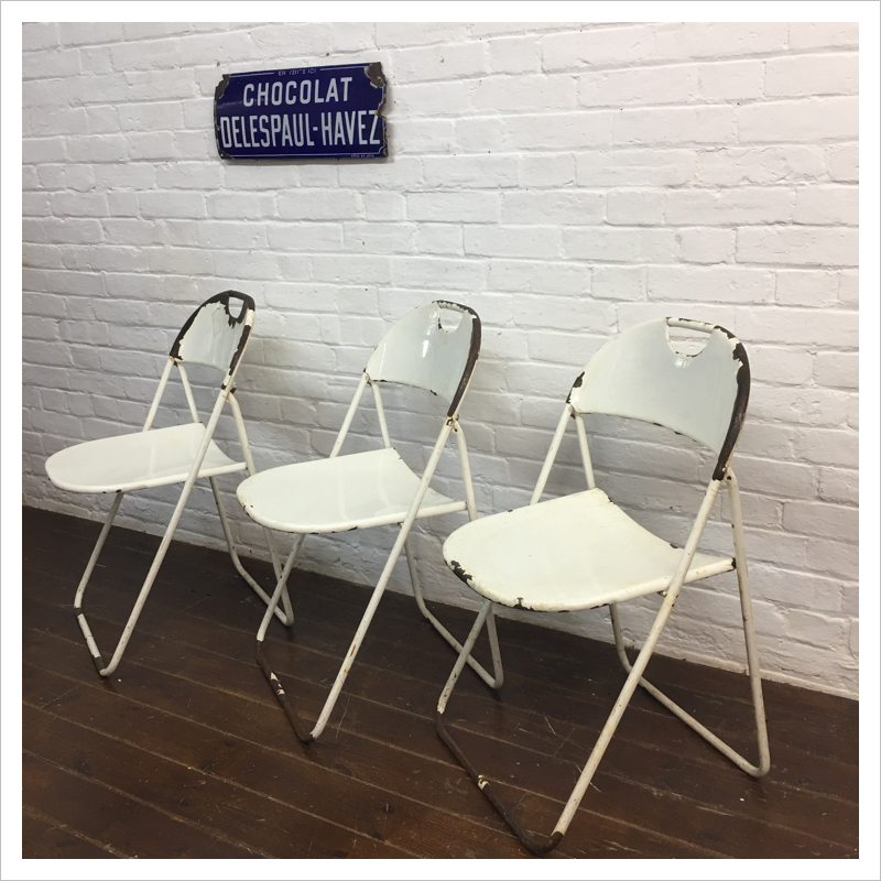 White French Vintage Bistro Garden Chairs Mayfly Vintage
