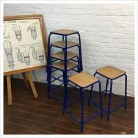 Vintage Blue French School Lab Stools