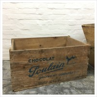 French Wooden Crate Chocolat Poulain