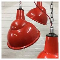 Red Enamel Crysteel Parabolic Benjamin Light Shades