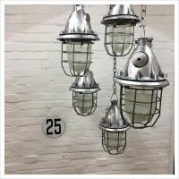 Polished Soviet Factory Cage Lights