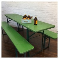 Green Beer Hall Table and Benches Set