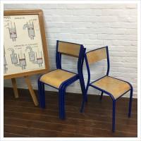 Original Blue Mullca French School Chairs