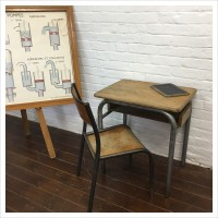 Vintage French School Desk Chair Set