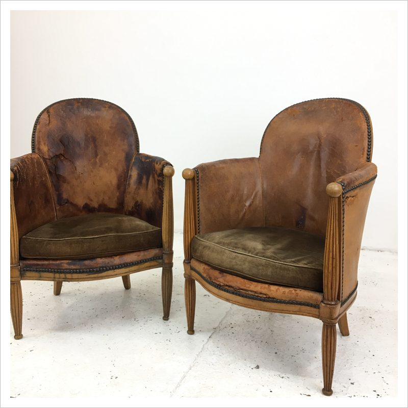 Cool Pair Of Art Deco French Leather Tub Chairs Squirreltailoven Fun Painted Chair Ideas Images Squirreltailovenorg