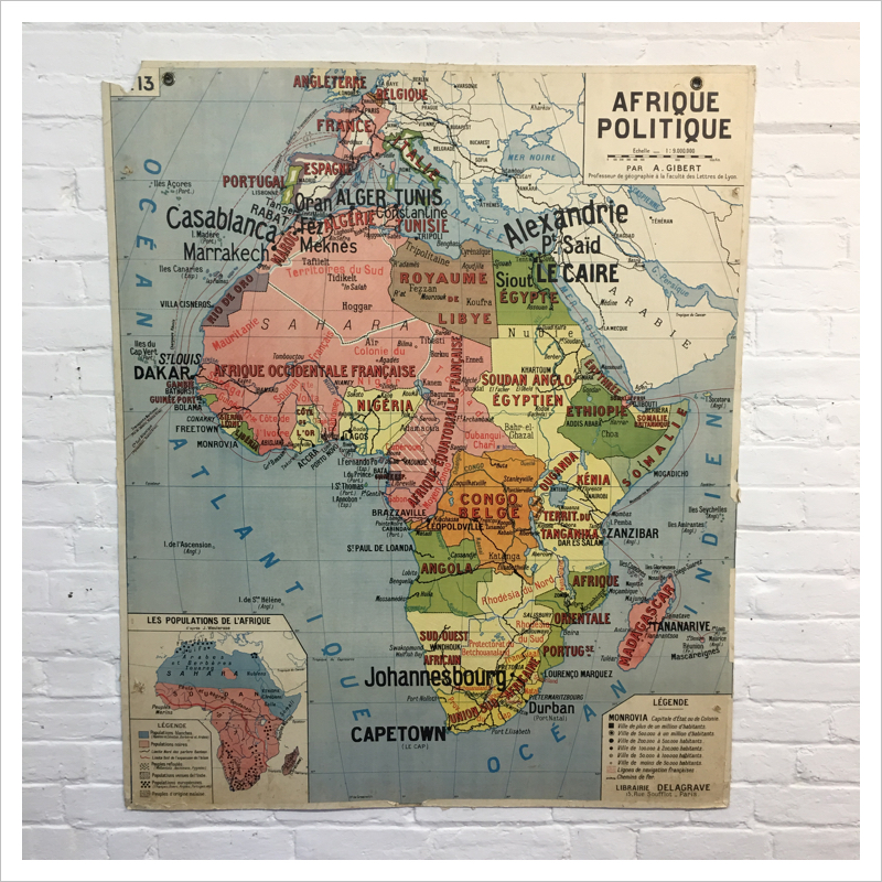 French Africa Map.French Africa And Asia Vintage Map By Delagrave Mayfly Vintage