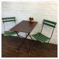 Vintage French Burgundy Metal Garden Table Set