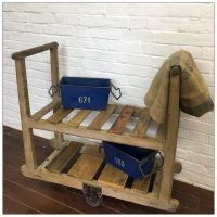 French Wooden Factory Trolley