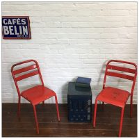 French Metal Red Tolix Style Cafe Kitchen Chairs