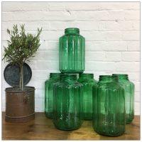 Hungarian Ribbed Green Storage Jar