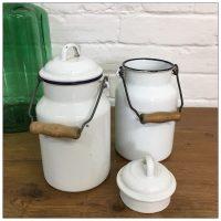 Hungarian Enamel Storage Milk Churn