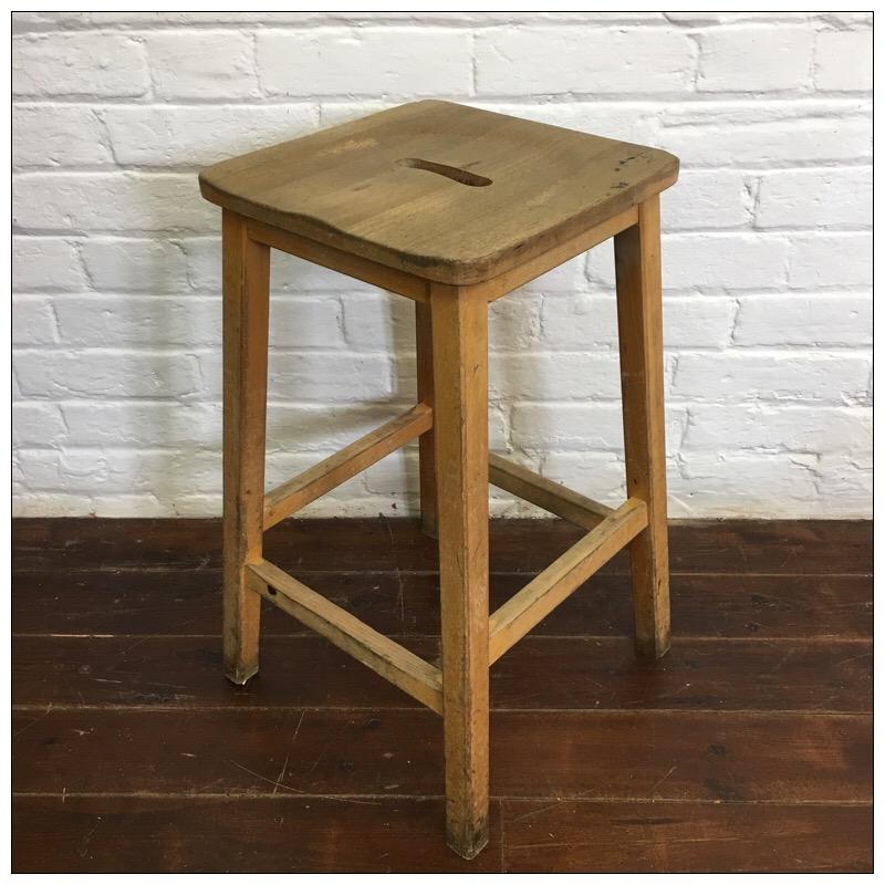 Vintage Wooden School Lab Stools Mayfly Vintage
