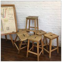 Vintage Wooden School Lab Stools