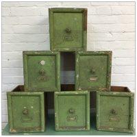 Vintage Green Wooden Storage Drawers