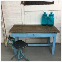 Vintage Blue Wooden Farmhouse Kitchen Table