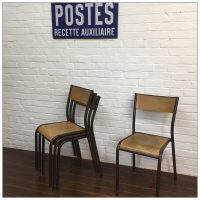 Original Brown Mullca French School Chairs