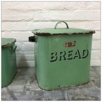 Green Vintage Enamel Bread Bin