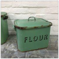 Green Vintage Enamel Flour Bin