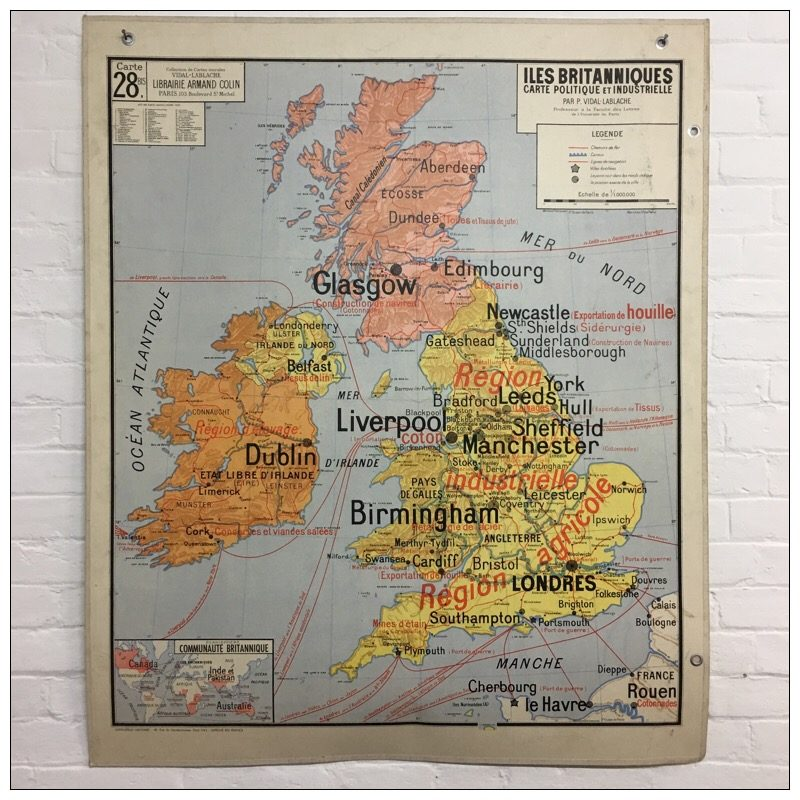 Carte Angleterre Leicester.Vintage French School Map Of Great Britain