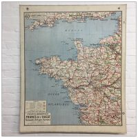 Vintage French School Map of North West France