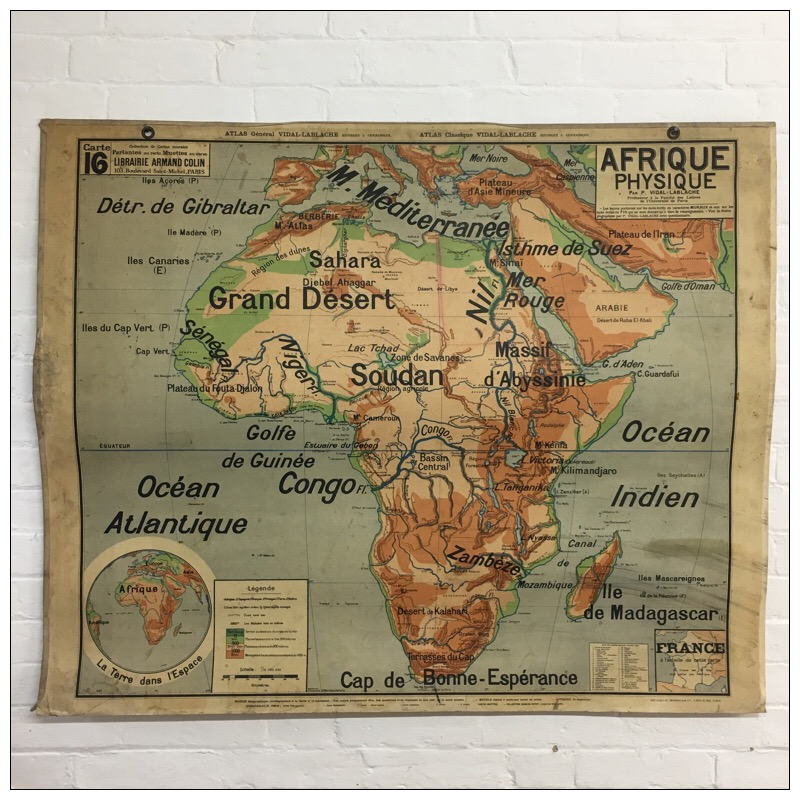 Map Of Africa French.Vintage French School Map Of Africa