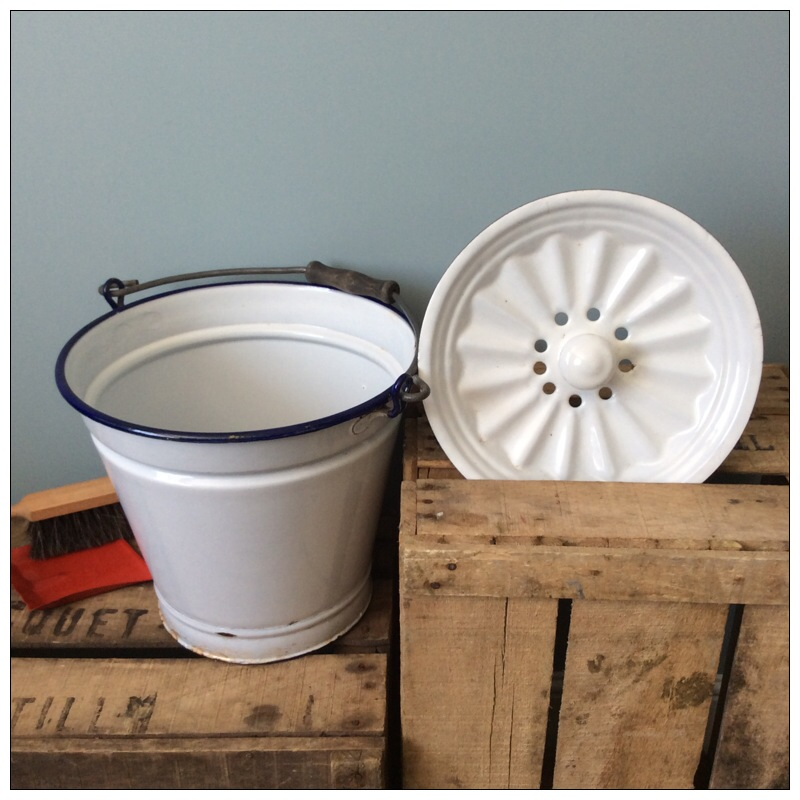 White Enamel Bucket With Lid Mayfly Vintage