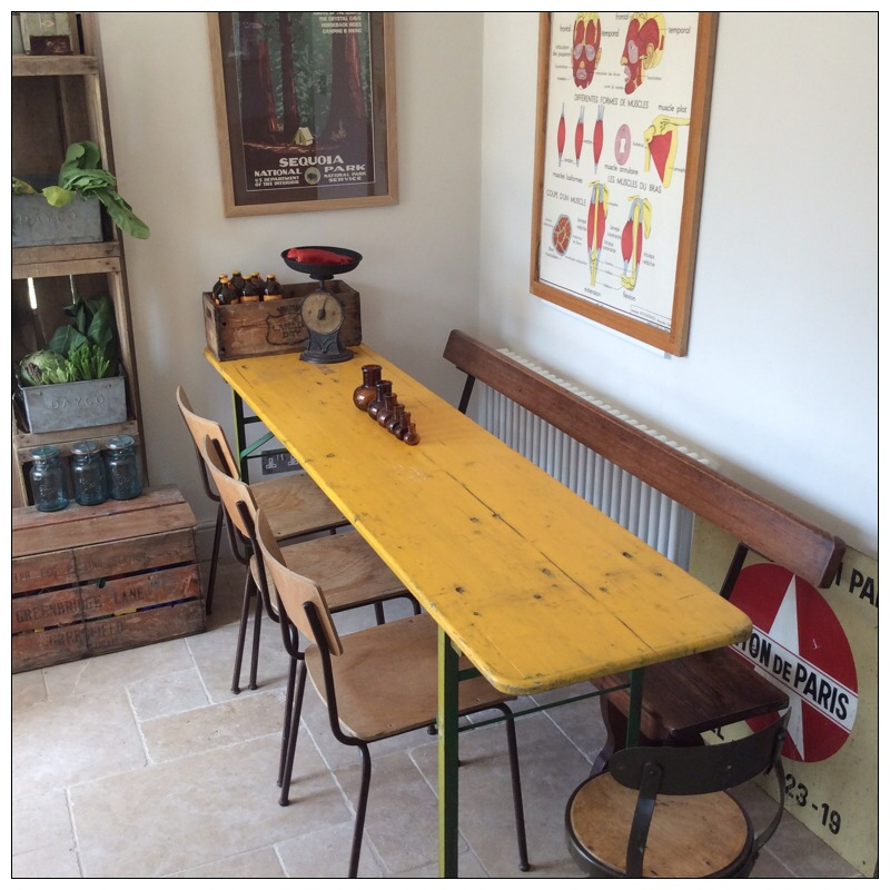 Yellow German Beer Hall Table And Benches Mayfly Vintage
