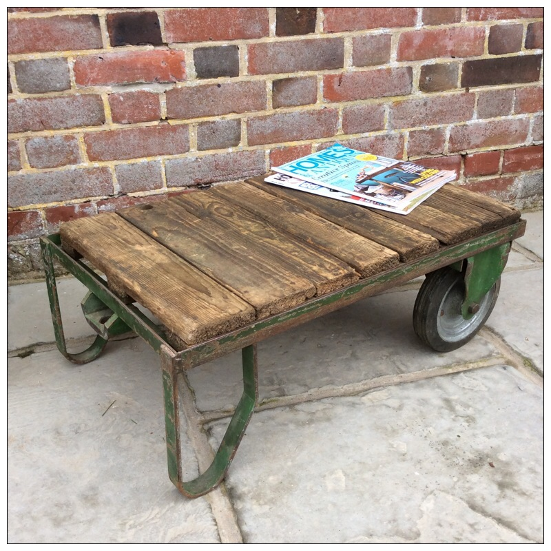 Trolley Coffee Table.Small Industrial Green Metal Factory Trolley Coffee Table