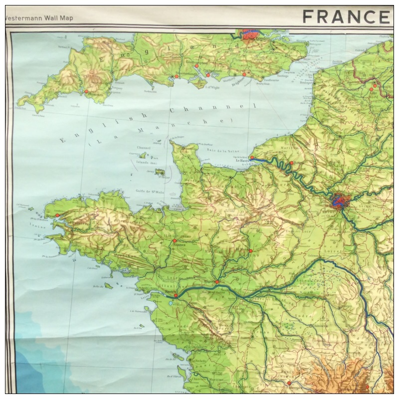 Geographical Map Of France.Westermann Map Of France